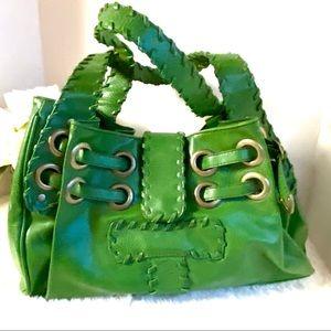 ALDO Aldo Green Embroidered Stitch Shoulder Purse